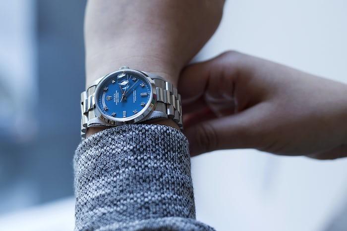 day date platinum stella dial blue wrist