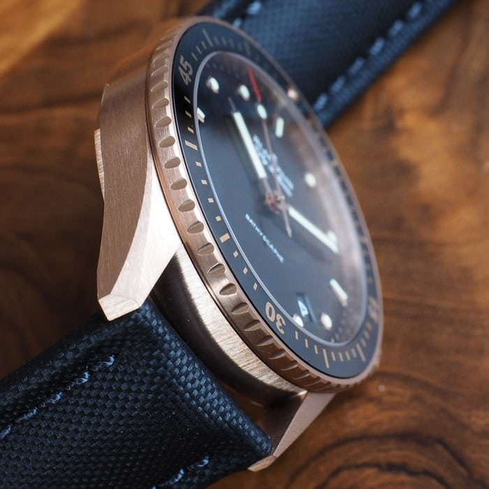 Blancpain Fifty Fathoms Sedna Gold case flank