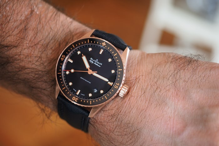 Blancpain Fifty Fathoms Sedna Gold wrist shot
