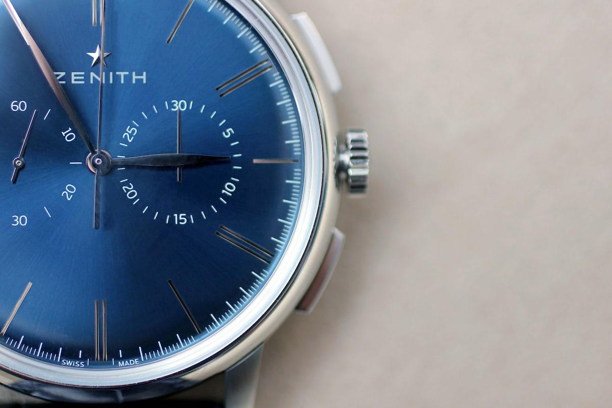 Zenith Elite Chronograph Classic Blue Close Up