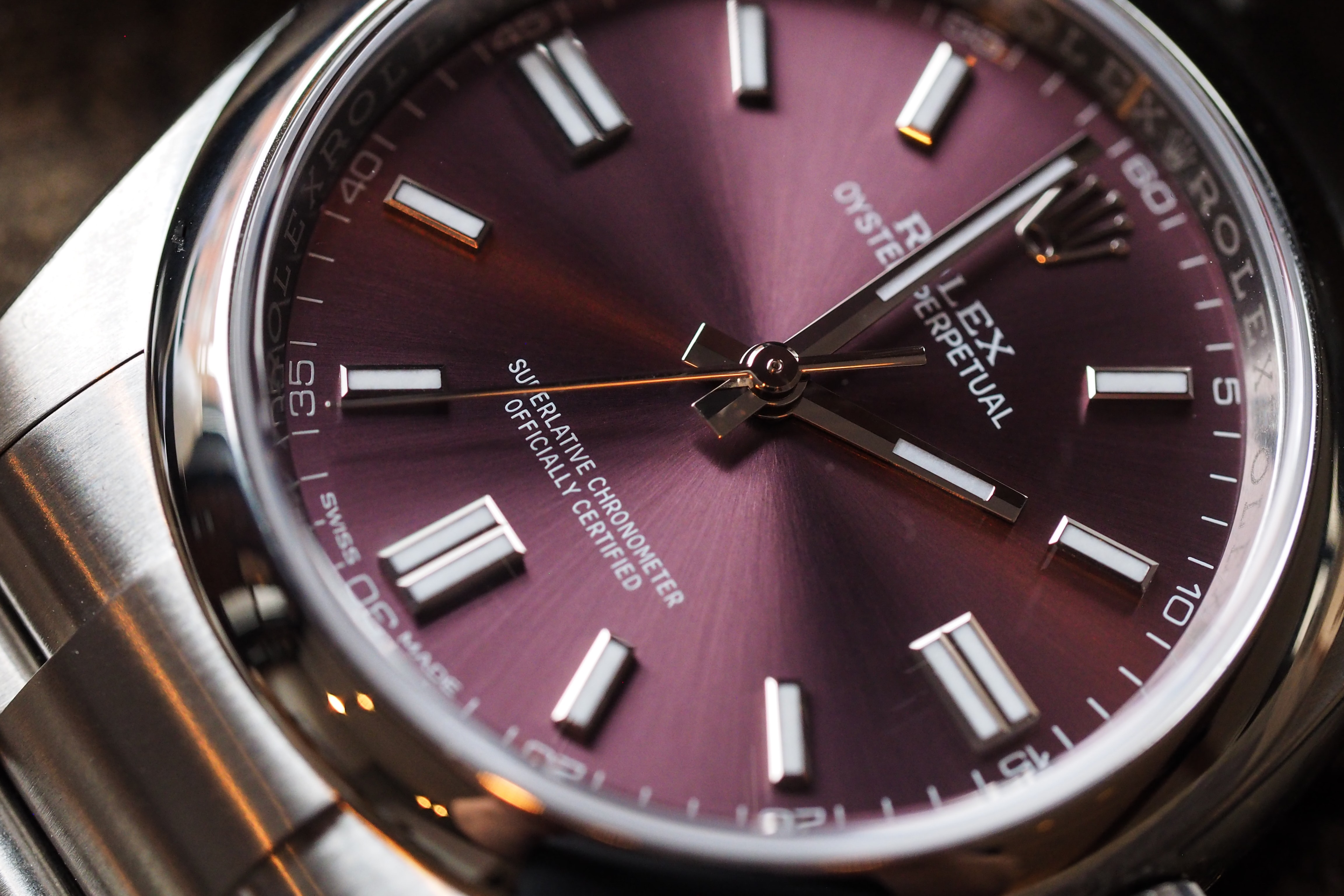 Hands-On: Grape Flavored Oyster: The Rolex Oyster 36 With Red Grape Dial Hands-On: Grape Flavored Oyster: The Rolex Oyster 36 With Red Grape Dial P5050320