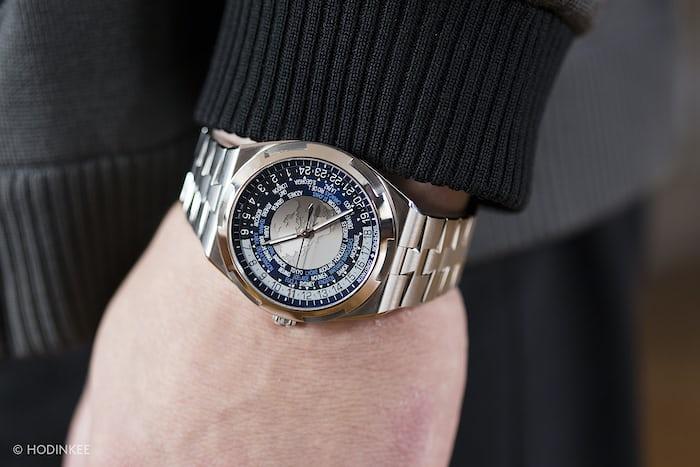 The Vacheron Constantin Overseas World Time closeup wrist shot
