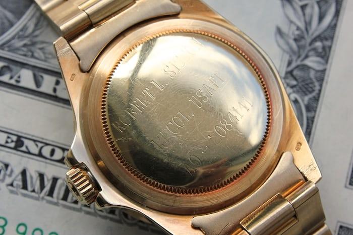 Rolex Submariner case back engraved