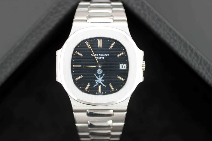 Lot 172: The Patek Philippe Jumbo Nautilus 3700/1 in white gold; Sold for CHF 635,000