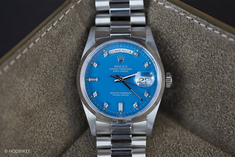 Lot 107 – Platinum Rolex Day Date With Azure Blue Stella Dial