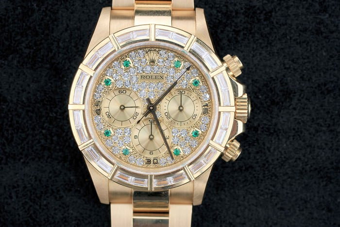 Lot 166 - Rolex Cosmograph Daytona, 16568, inside caseback stamped 16500, 18k yellow gold and diamonds, 1994; Sold for CHF 329,000
