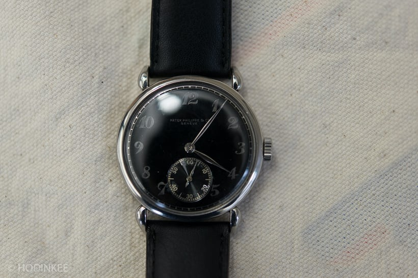 Lot 59: A Stainless Steel Patek Philippe Ref. 1503 with Breguet numerals.