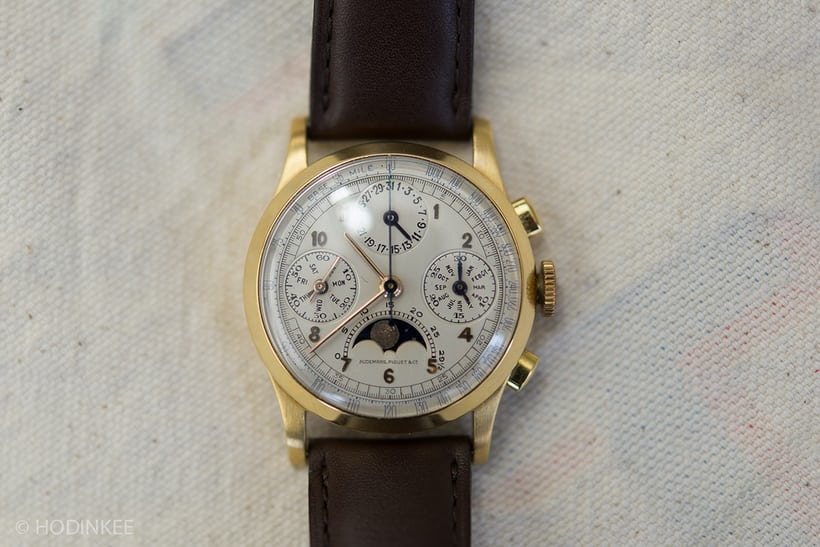Lot 58: A very rare 1940s Audemars Piguet Triple Calendar Chronograph