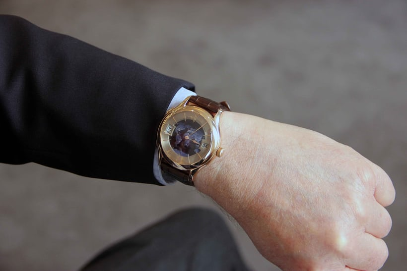 On the wrist of its creator, the latest Galet Traveller