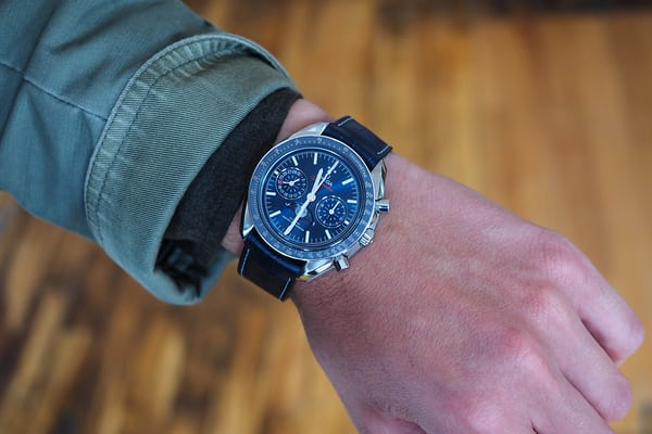 Omega Speedmaster Moonphase Master Chronometer Chronograph steel wrist shot dial