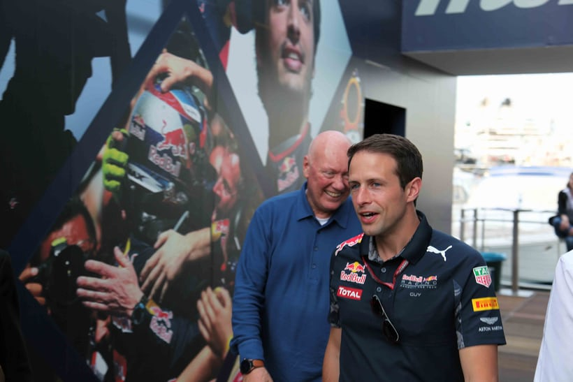 Jean-Claude Biver arrives at the Red Bull Racing station.