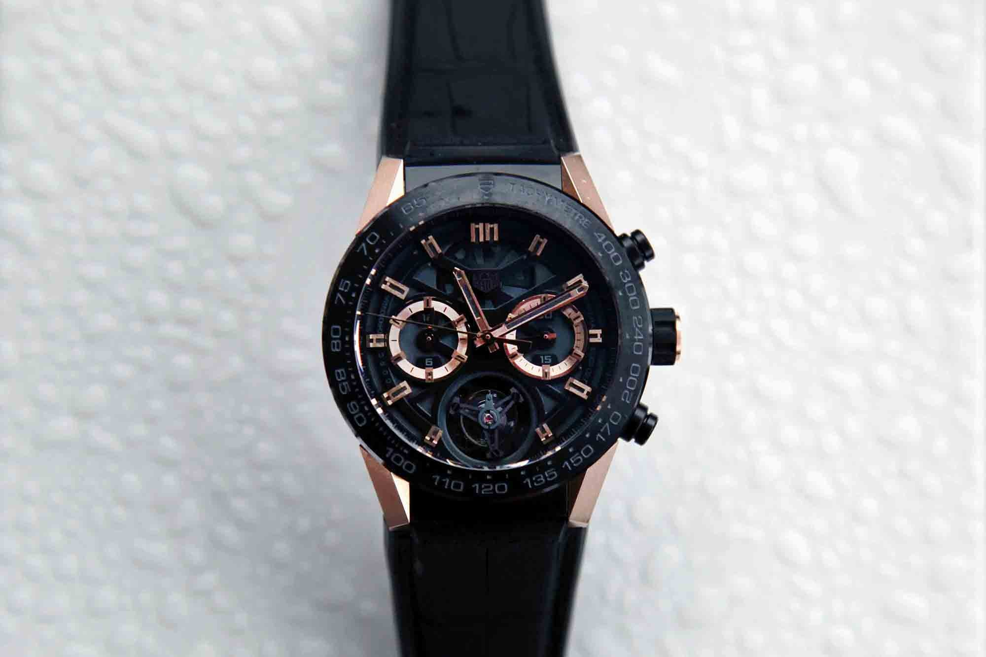 The TAG Heuer Carrera-02T, in rose gold.  Photo Report: Behind The Scenes At The Monaco Grand Prix 2016 With TAG Heuer CEO Jean-Claude Biver Photo Report: Behind The Scenes At The Monaco Grand Prix 2016 With TAG Heuer CEO Jean-Claude Biver d