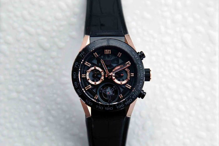 The TAG Heuer Carrera-02T, in rose gold.