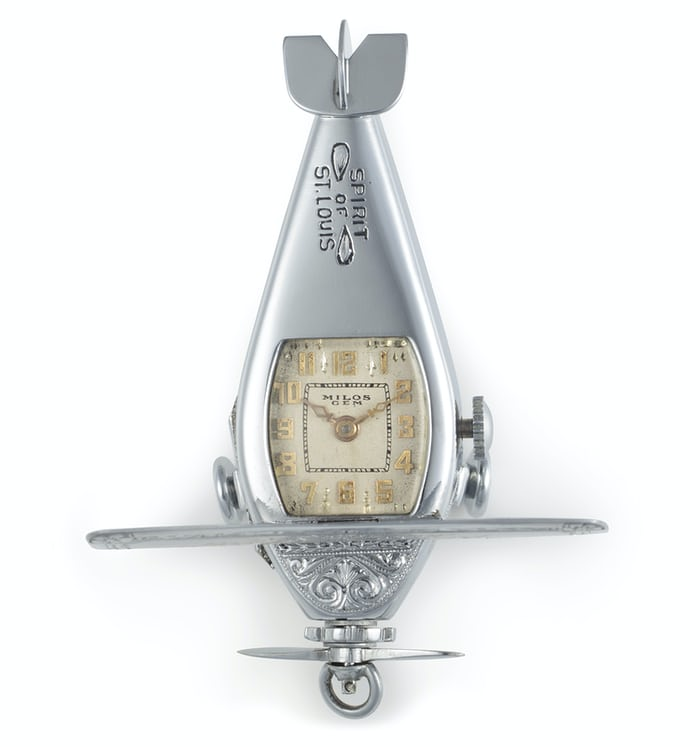 Lot 44 - A 14K White Gold Model Airplane Made By Milos & Diel to commemorate Charles Lindbergh's Transatlantic flight.