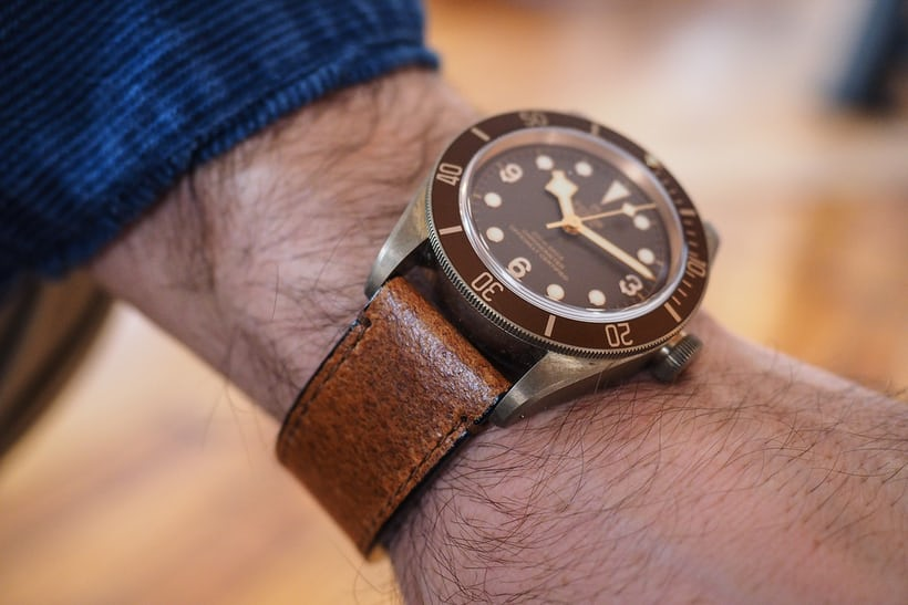 black bay bronze wrist