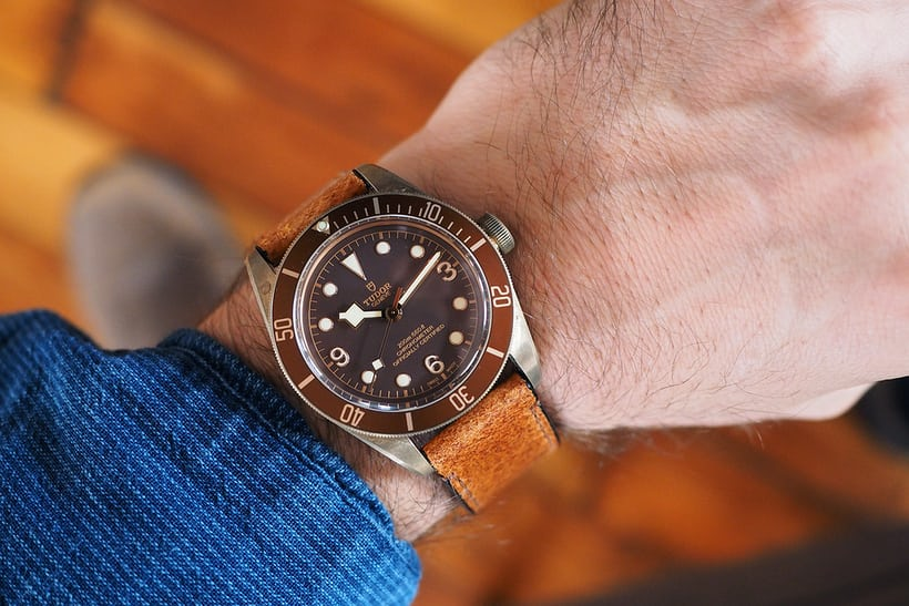black bay bronze wrist shot from above