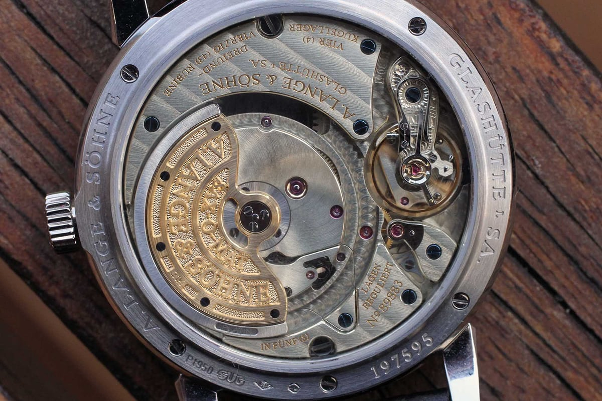 The A. Lange & Söhne Saxonia Annual Calendar. Caliber L085.1 close up