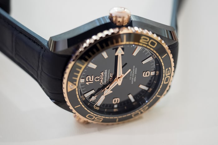 planet ocean deep black sedna gold dial and logo