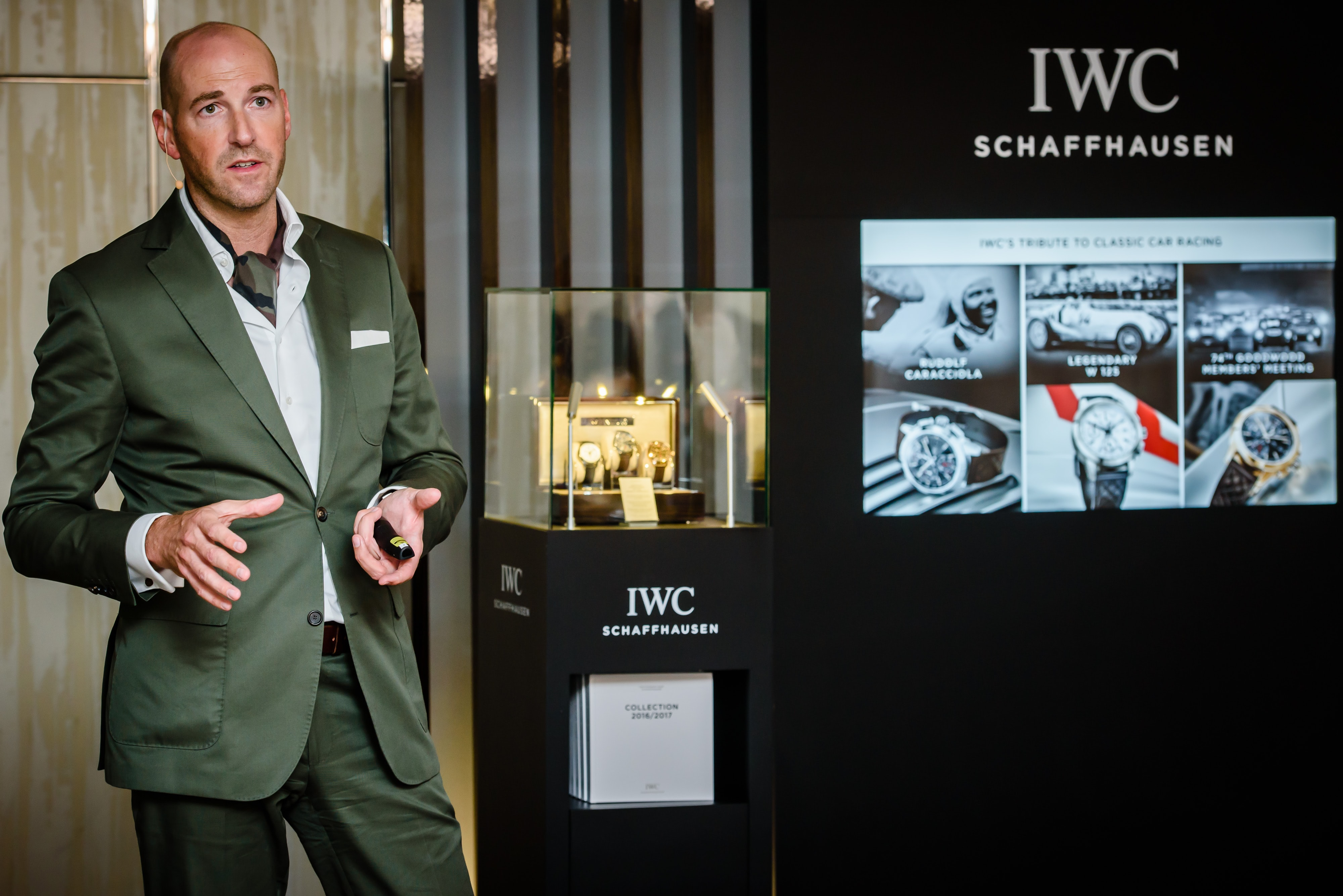 "Christian Knoop presenting the new chronograph movement at The Dolder Grand, in Zurich.  Introducing: IWC's New In-House Chronograph Caliber 69370 Makes An Understated But Impressive Debut In The Ingenieur Chronograph Edition ""Rudolf Caracciola Introducing: IWC's New In-House Chronograph Caliber 69370 Makes An Understated But Impressive Debut In The Ingenieur Chronograph Edition ""Rudolf Caracciola"" 150616BILAN004"