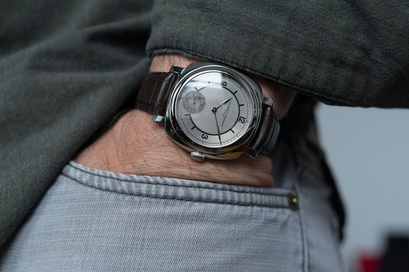 The Laurent Ferrier Galet Square Vintage 1 Limited Edition wrist shot hand in trouser pocket