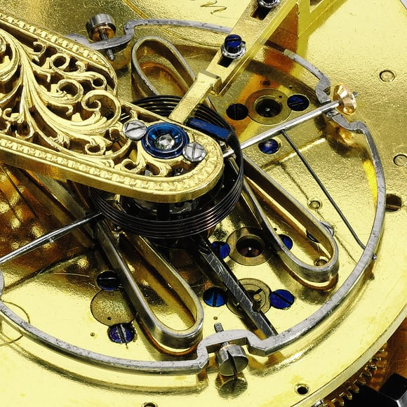 John Arnold pocket chronometer with cylindrical balance spring, and early temperature compensated balance.