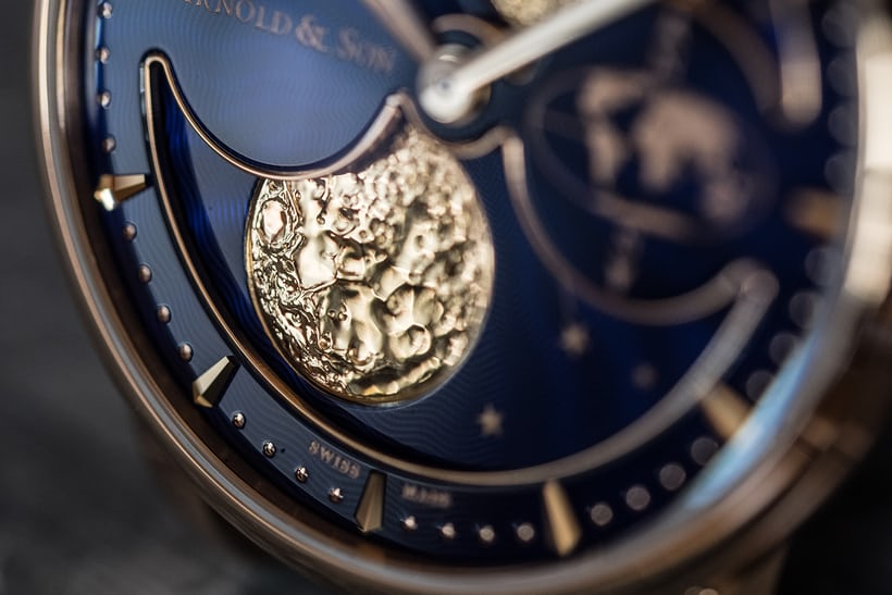 Arnold & Son HM Double Hemisphere Perpetual Moon moon disk closeup
