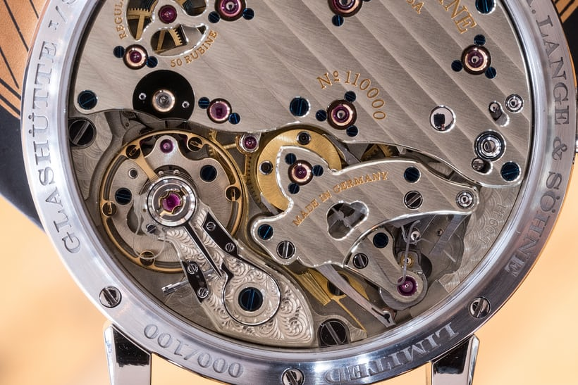 A. Lange & Söhne Richard Lange Jumping Seconds movement closeup