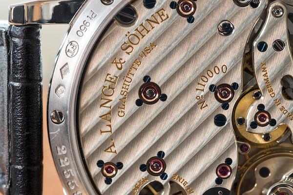 A. Lange & Söhne Richard Lange Jumping Seconds mainspring barrel closeup
