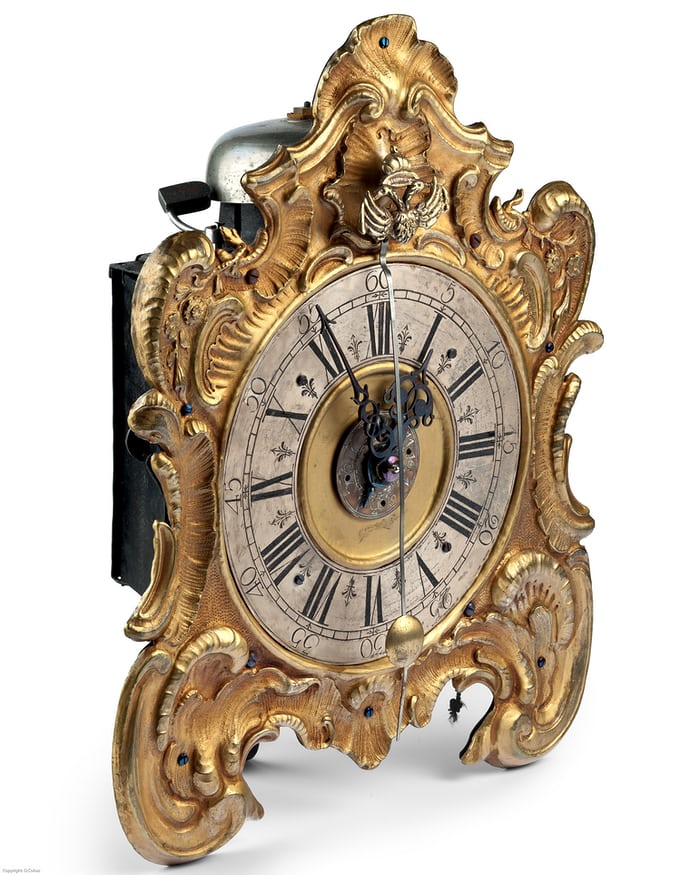german rocaille style table clock