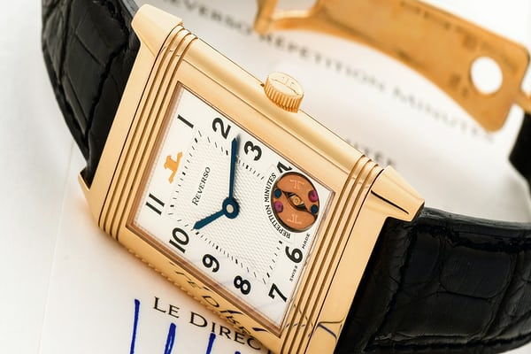 Limited edition JLC Ref. 270.2.73, Reverso Minute Repeating Reverso, made in 1994 (Photo Credit: Antiquorum).