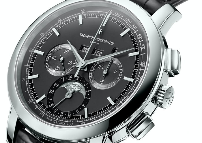 Reference 5000T-00P Vacheron perpetual chronograph dial closeup