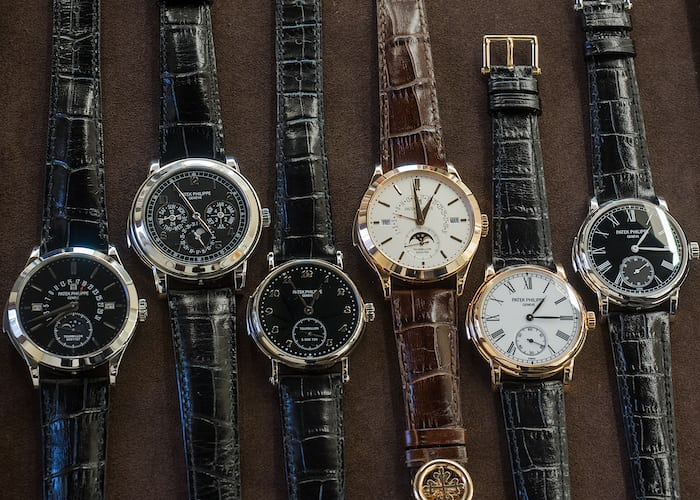 Left to right: references 5216P, 5074P, 5539 (hand wound repeater only) 5216R, 5078R, and 5078P (both self-winding, minute repeater only).