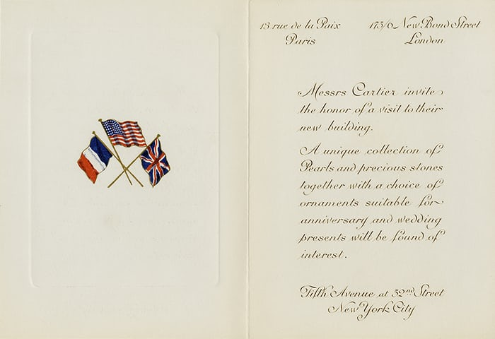 cartier invitation mansion opening 1917