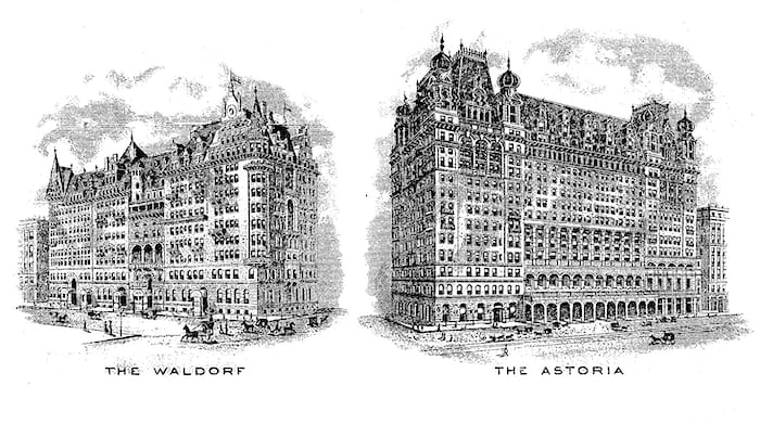 waldorf and astoria hotels 1916 postcard