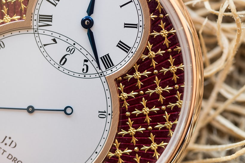Jaquet Droz Pocket Watch Paillonée dial closeup