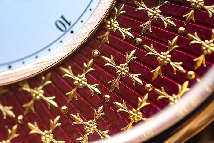 Gold paillons on the Jaquet Droz Pocket Watch Paillonée