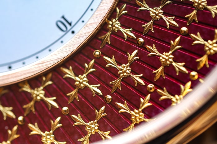 Gold paillons on the Jaquet Droz Pocket Watch Paillonée