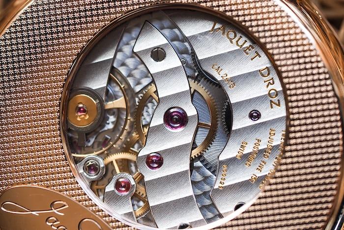 Jaquet Droz Pocket Watch Paillonée movement closeup