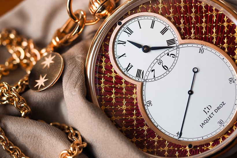 Jaquet Droz Pocket Watch Paillonée pocket watch and chain