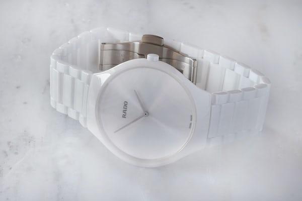 rado true thinline watch white ceramic