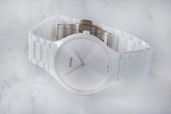 rado true thinline watch white ceramic