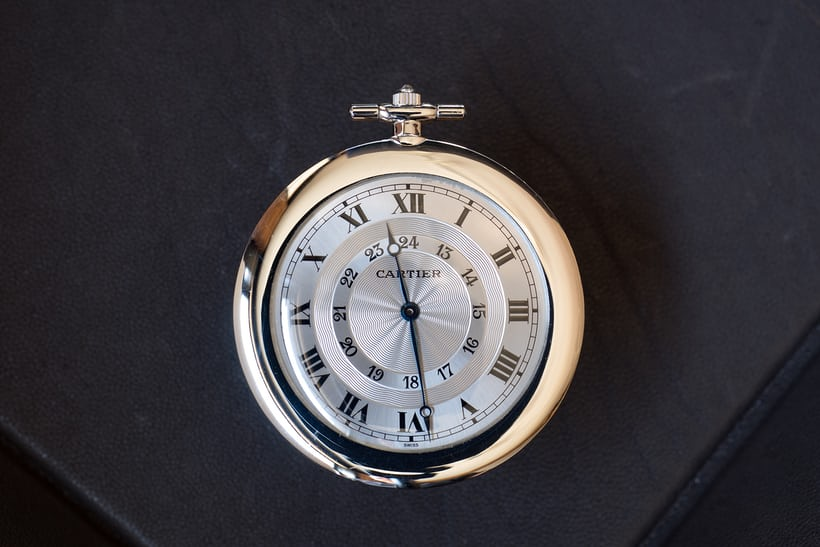 Double Chapter Ring Cartier Pocket Watch In Platinum dial