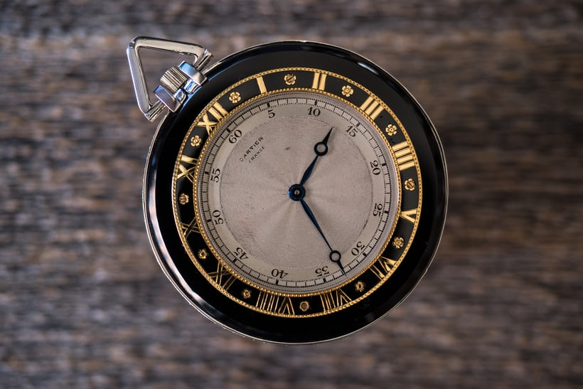 Double Chapter Ring Cartier Pocket Watch In Onyx And Platinum, 1926