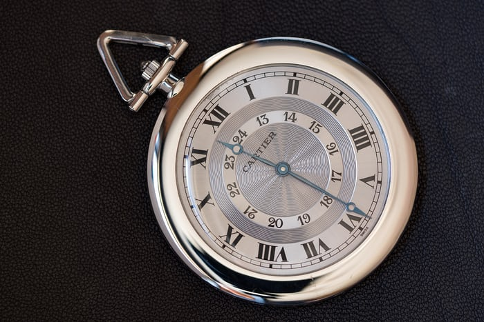 Double Chapter Ring Cartier Pocket Watch In Platinum closeup