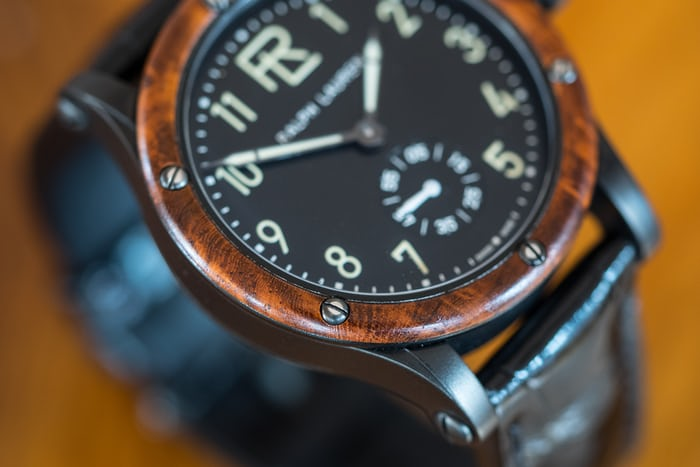 The Ralph Lauren Automotive 39mm dial closeup