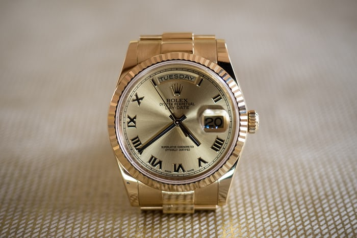 Rolex day date 36mm dial closeup