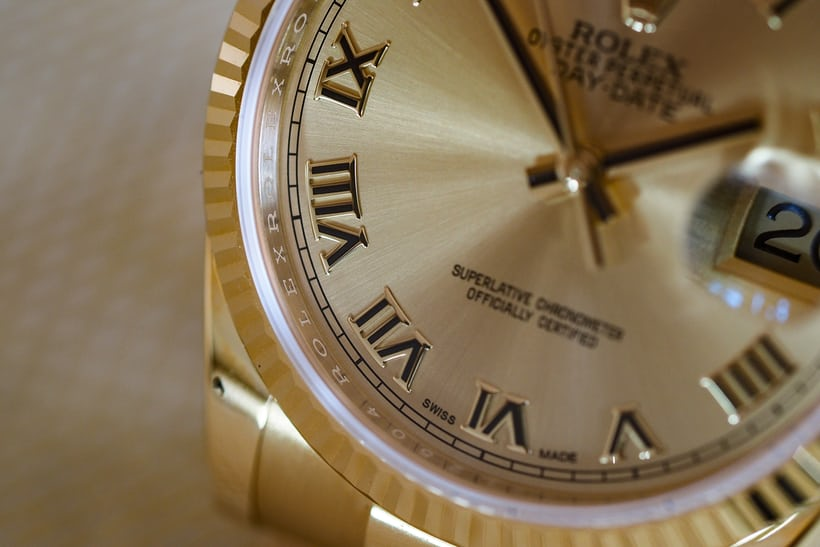 rolex 36mm day date roman numerals dial closeup