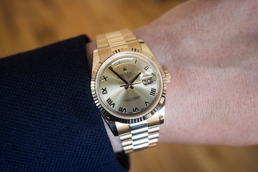 rolex 36mm day date wrist shot