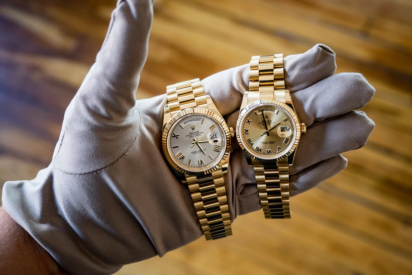 rolex day date 40mm silver dial and 36mm champagne dial