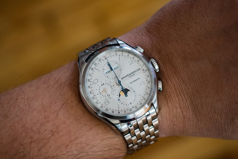 The Baume and Mercier Clifton Chronograph Calendar wrist shot